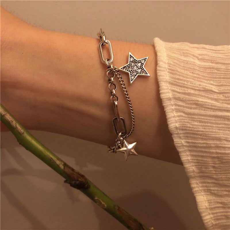 ANENJERY lune étoile Imitationn perle Bracelet à breloques 925 argent Sterling dégradé pierre de lune Zircon Bracelet pour les femmes S-B304