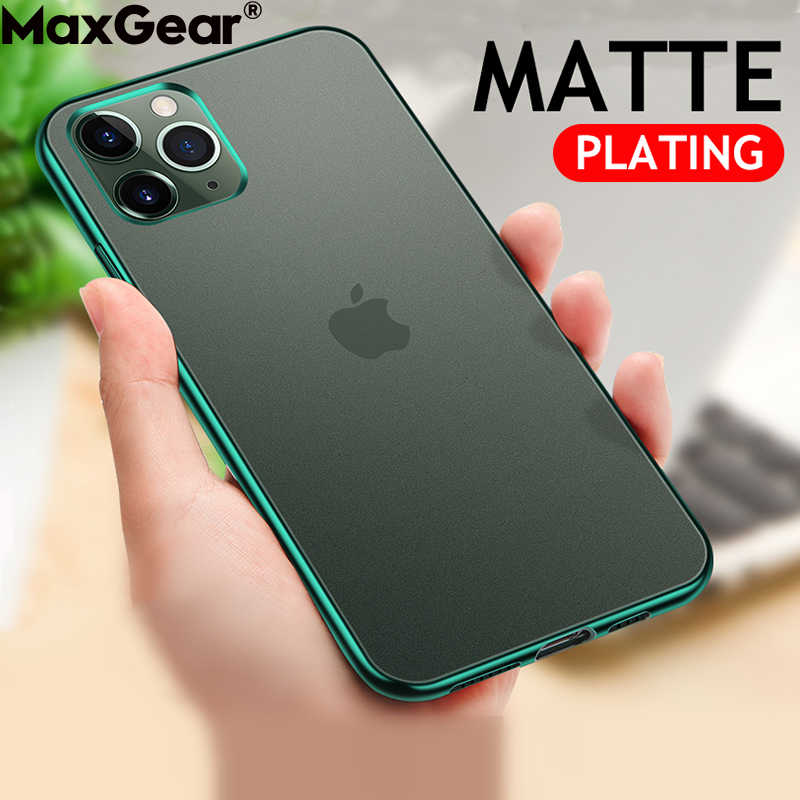 Mewah Plating Frame Matte Case untuk iPhone 11 Pro XS Max X XR 6 6S 7 7 Plus Slim jelas Shockproof Cover IPhone11 Silikon Tritone