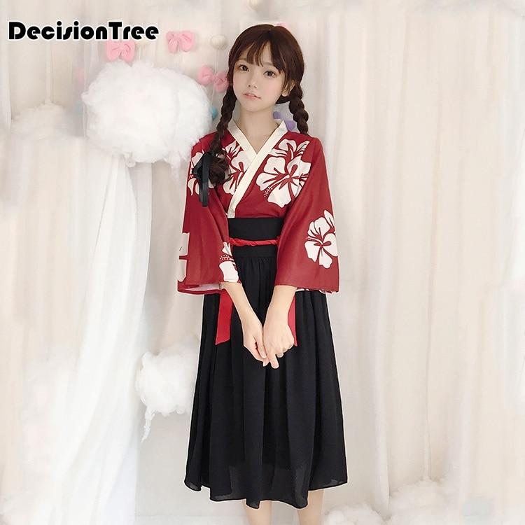2019 Kimono Japanese Kimono Mujer Yukata Japan Kimono Dress Kimonos Cosplay Costume Kimono Dress Assassin Cosplay Skirt
