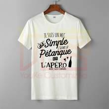Nouveau tableur j'aime la pétanque et l'apero t-shirt hommes vente chaude 100% coton imprimé de haute qualité marque unisexe t-shirt