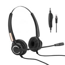 ชุดหูฟังRJ9ชุดหูฟังไมโครโฟนควบคุมเสียงรบกวนMuteสำหรับกล่อง/เครือข่ายVOIPโทรศัพท์PCเกม