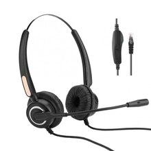 Zestaw słuchawkowy dla Call Center zestaw słuchawkowy RJ9 z mikrofonem regulacja głośności z redukcją szumów wyciszenie dla budka telefoniczna/telefon sieciowy VOIP gra komputerowa