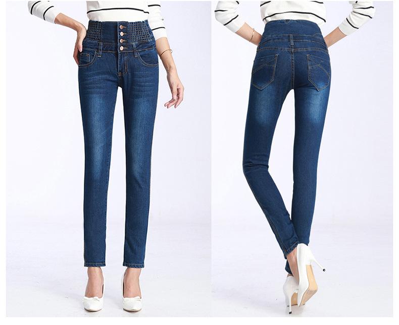 Womens Winter Jeans High Waist Skinny Pants Fleece Lined Elastic Waist Jeggings Casual Plus Size Jeans For Women Warm Jeans 25