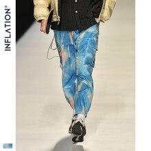 אינפלציה 2020 FW גברים Die צבע Jogger מכנסיים Loose Fit גברים סתיו מכנסיים אצן אלסטי מותניים גברים Streetwear עניבה לצבוע מכנסיים 93423W