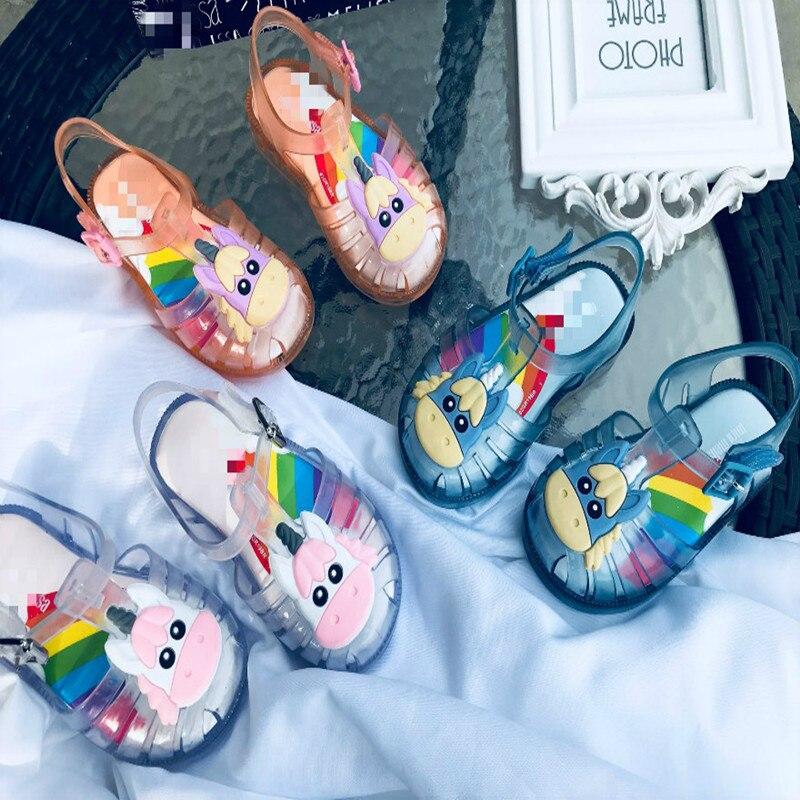 2020 nouveau cheval mini melissa enfants gelée chaussures marque arc-en-ciel bas petites filles été gelée chaussures bambins licorne chaussures SH19073