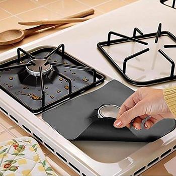 1 4pc kuchenka gazowa kuchenka ochraniacze pokrywa Liner Clean Mat osłona podstawy Pad kuchnia kuchenka gazowa i jest wyposażony w płytę kuchenną Protector akcesoria kuchenne tanie i dobre opinie CN (pochodzenie) plate cover Ekologiczne Na stanie Naczynia kuchenne RUBBER inserts Black Silver cookware part stovetop protector