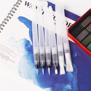 6 Pcs/Set Refillable Paint Brushes Soft Watercolor Brush Nylon Hair Painting Set Calligraph Drawing Art Supplies - discount item  30% OFF Art Supplies