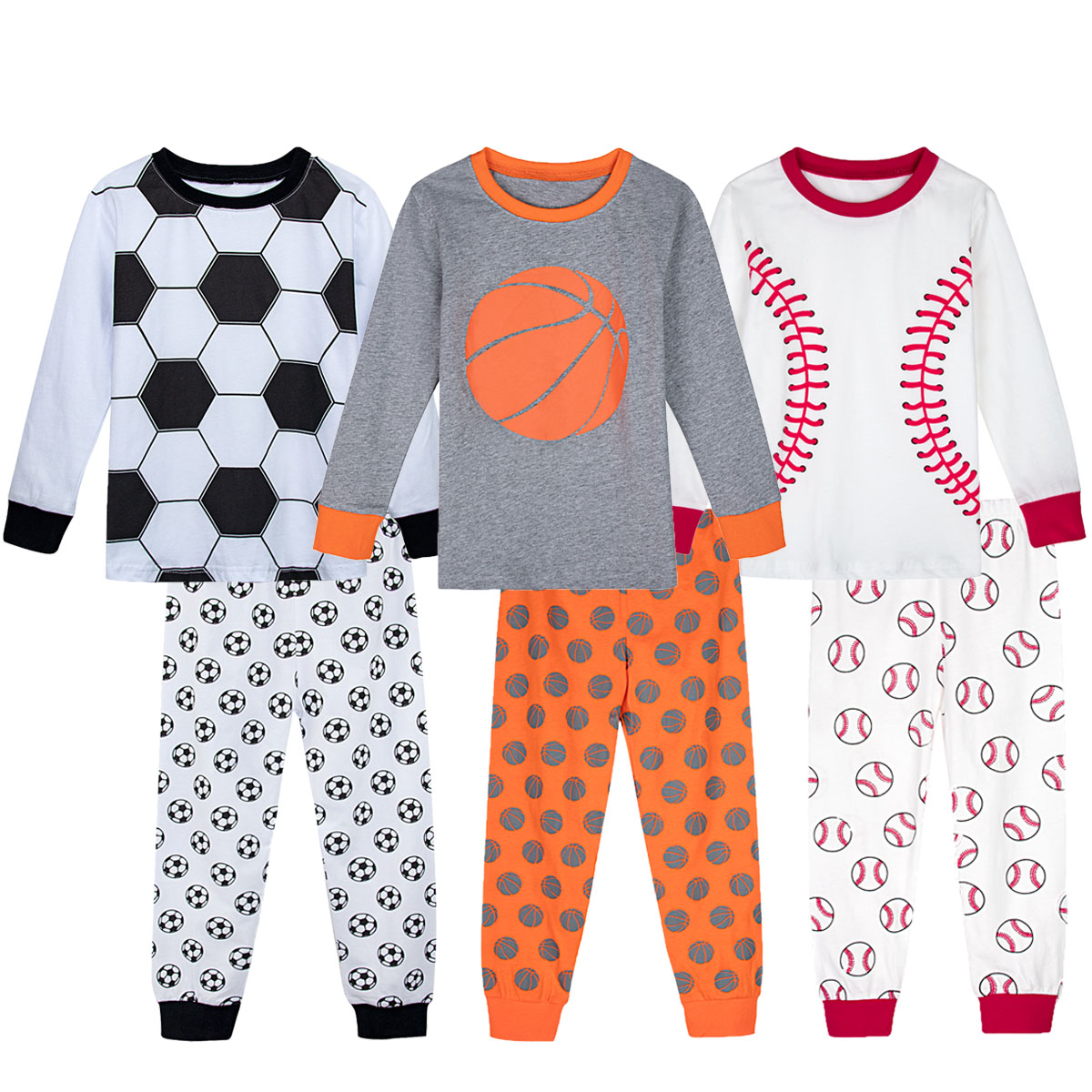 Kids Boys Winter Pajamas Set Children Dinosaur Baseball Soccer Sport Sleepwear Toddler Long Sleeve Top With Pants Nightwear 2PCS