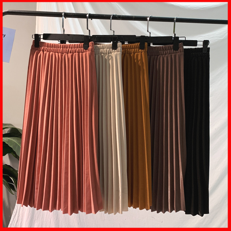 2020 Summer Ladies Korean Red Black High Waist A-line School Long Skirt Female Surmiitro Elegant Solid Midi Pleated Skirt Women