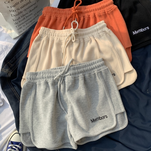 Hot summer All-match Women Short Pant Casual Lady Loose Letter embroidery Leisure Female Workout Waistband Skinny Stretch Shorts 3