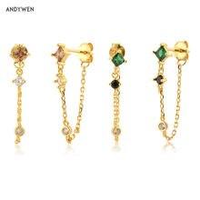 ANDYWEN – boucles d'oreilles en Zircon, 925 en argent Sterling, or, marron, vert, Clips de Piercing, Rock Punk, bijoux en cristal