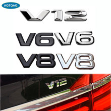 1Pcs 3D Metal V12 V8 V6 Car Side Fender Rear Trunk Emblem Badge Sticker