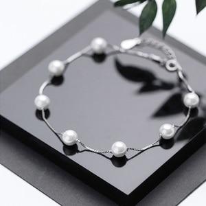 Жемчужный браслет для ног для женщин из стерлингового серебра 925 пробы в деловом стиле s925 браслеты на щиколотке пляжные Бохо ювелирные изде...