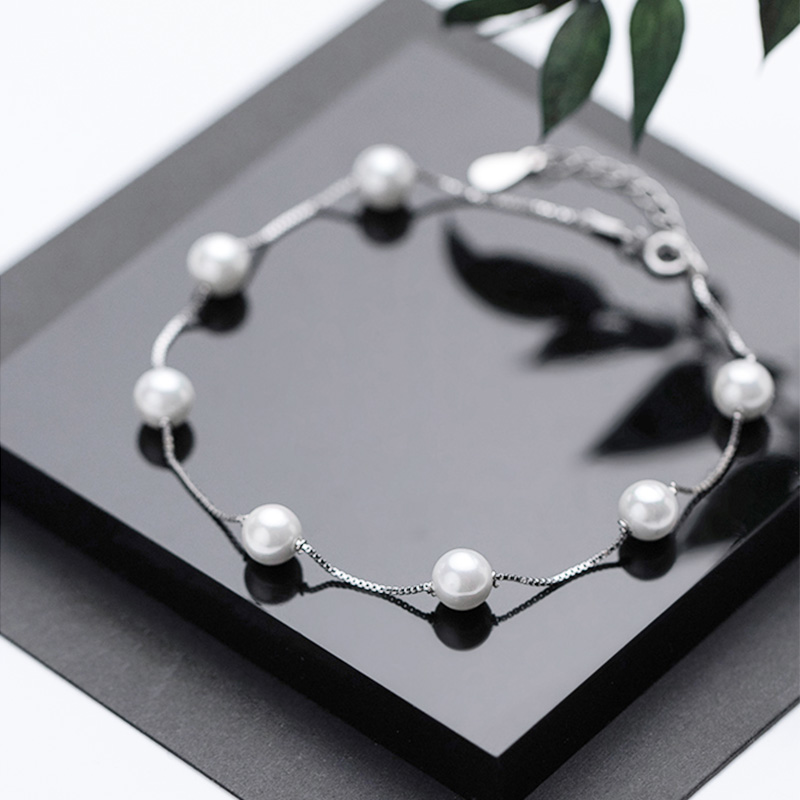 Pearl Anklet For Women 925 Sterling Silver Career Style s925 Anklet Bracelets Beach Boho Foot Jewelry Wedding Valentine's Day