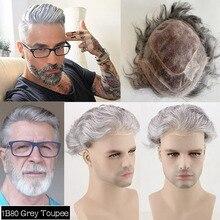 Perruque Lace Front wig naturelle pour homme, cheveux humains, couleur gris argent, #1B80, Mono Base, extension capillaire