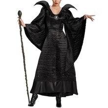 Feminino filme de halloween preto vestido longo má rainha bruxa vestido cosplay chifre hat