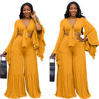 Autumn Ruffle Long Sleeve 2 Piece Outfits for Women Sexy Solid Color Lace-up V-neck Top with Floor Length Trouser Plus Size Set
