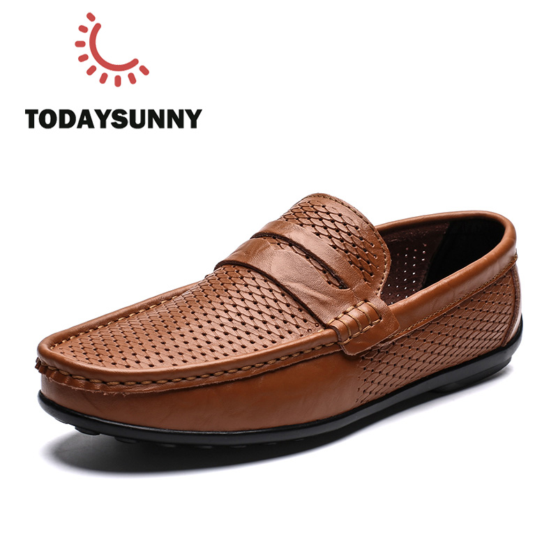 Men Casual Shoes Genuine Leather Male Loafers Espadrilles Fashion Peas Shoes Flats Slip On Driving Sneakers Lazy Mocassin Homme
