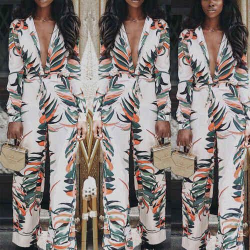 Streetwear Playsuit ชุดราตรีค็อกเทลสุภาพสตรี Jumpsuits Romper สายคล้องกางเกง Slim ยาวแขน Jumpsuit Overalls สำหรับผู้หญิง
