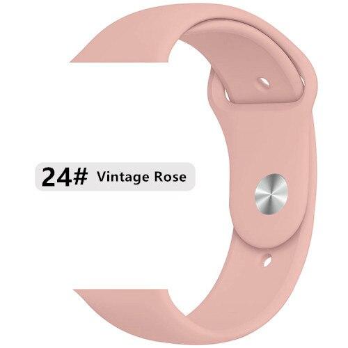 Ремешок для apple watch band 44 мм/40 мм iwatch band 5 4 42 мм 38 мм correa pulseira watch band для apple watch 5 4 3 браслет 44 мм - Цвет ремешка: vintage rose 24