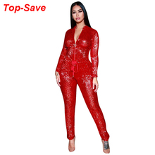 Fashion Casual Female Body For Women Jumpsuit Solid Deep V-neck Long Sleeve One Piece