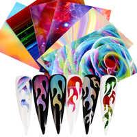 Nouveau holographique coloré flamme ongle feuille creux Laser ongles décalcomanies Nail Art transfert auto-adhésif flamme ongles autocollants 2019