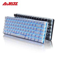 Ajazz AK33-Teclado mecánico para jugar con cable, 82 teclas, interruptor azul, diseño en inglés, retroiluminación LED, conflicto