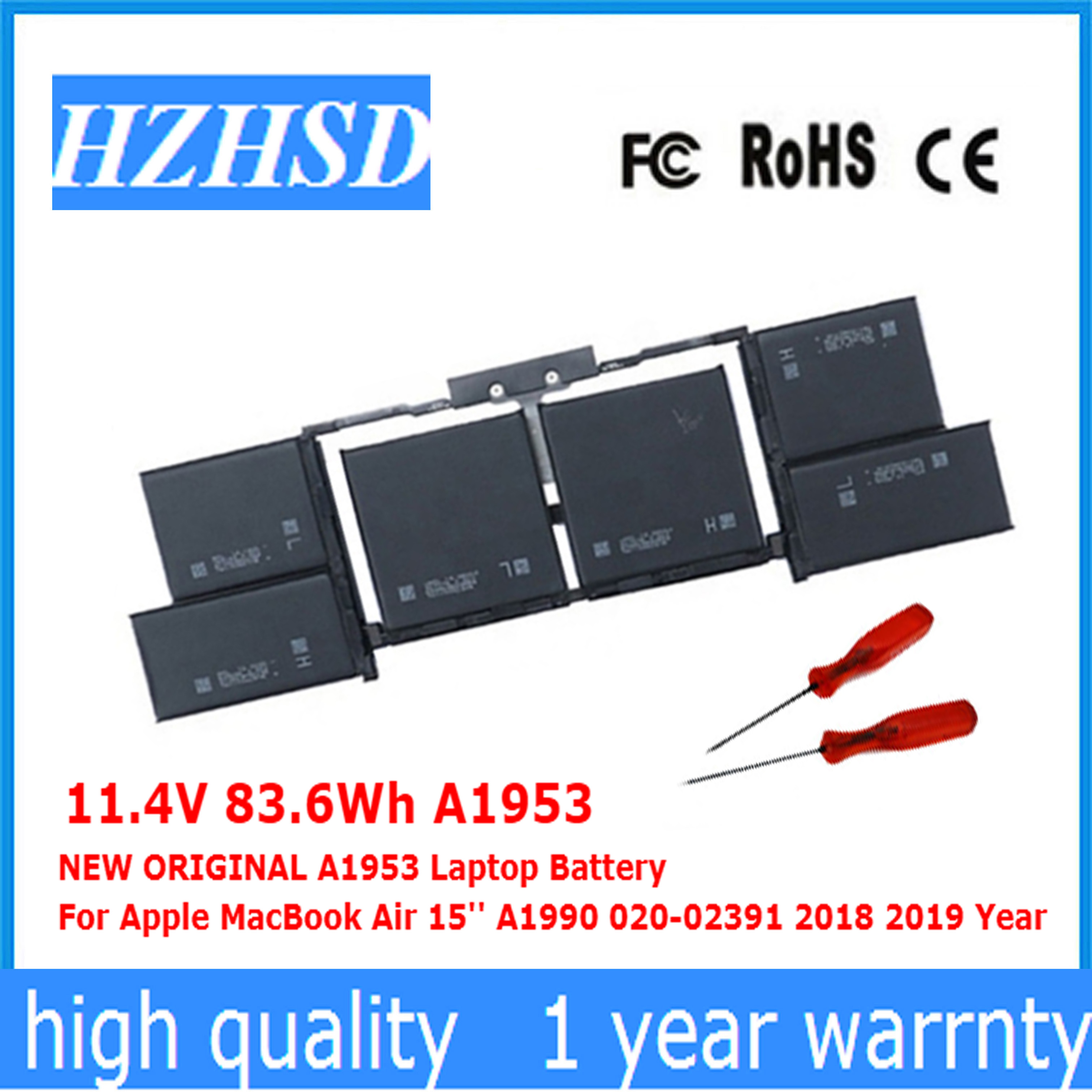 11.4V 83.6Wh A1953 NEW ORIGINAL A1953 Laptop Battery For Apple MacBook Air 15'' A1990 020-02391 2018 2019 Year