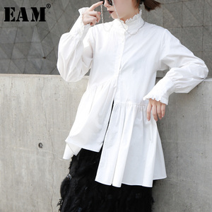 Image 1 - [EAM]2020 New Spring Autumn Stand Collar Long Sleeve White Loose Ruffles Stitch  Irregular Shirt Women Blouse Fashion Tide JL679