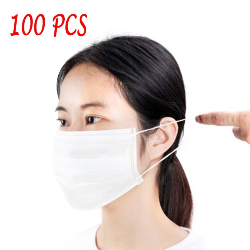 100pcs Medical Face Masks Disposable Anti Dust Mask 3 layers Non  woven Filter Earloops Breathable Face Mask Protective Masks  -