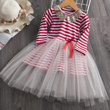 AmzBarley Girls tutu Dress Striped Lace Dress Sequined collar Birthday Party Outfits Toddler girls Long sleeves Autumn clothes недорого