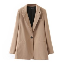 Women Fashion Long Sleeve Coat Elegant Turn-Down Collar Pocket Blazer Jacket Cardigan Mid Solid 9.3