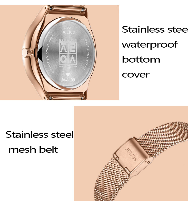Julius relógio de pulso feminino moda grande