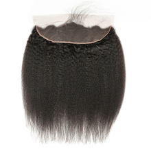 Closure Lace-Frontal Human-Hair Brazilian Kinky Straight with 13X4 Ear RUIMEIS Pre-Plucked