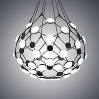 Creative Go Pendant Lights Postmodern Art Restaurant Villa Hotel Led Net Hanging Lamp Black White Nordic Kitchen Bedroom Fixture