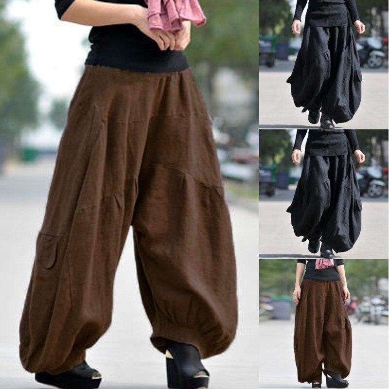 Women's Wide Leg Trousers ZANZEA 2020 Kaftan Cargo Lantern Pants High Elastic Waist Long Pantalon Female Solid Cotton Pants 5XL
