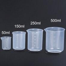 50/150/250/500 мл прозрачные Пластиковые мерные стаканчики для жидкости ручная работа DIY Изготовление ювелирных изделий для эпоксидной смолы Сил...