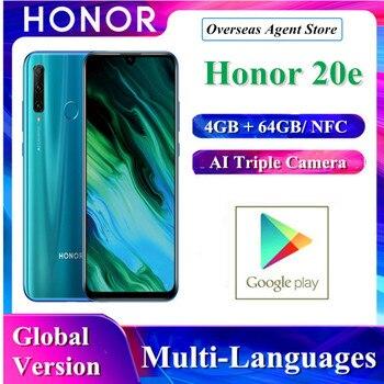 Купить В наличии Honor 20e Huawei оригинальный AI смартфон с тройной камерой 6 ГБ + 48 ГБ Kirin 710F разблокировка лица супер зарядка мобильный телефон