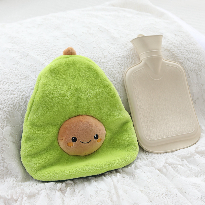 Cute Avocado Rubber Hot Water Bottles Stress Pain Relief Therapy With Knitted Soft Cozy Cover Winter Warm Heat Reusable 1000ml