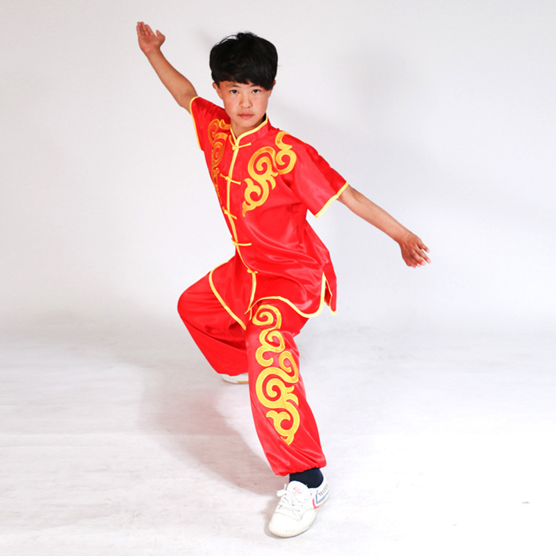 USHINE Black Red Blue White Chinese Multi Color Embroidery Shoulder Dragon Short Sleeve KungFu Martial Arts Costume TaiChi Suit