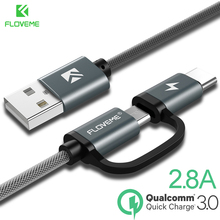 FLOVEME 2 in 1 Fast Charging Type C Micro USB Cable Quick Charge QC 3.0 for Xiao