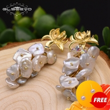 Drop-Earrings Handmade Jewelry Luxury GLSEEVO Fresh-Water Wedding-Dangle Baroque Pearl