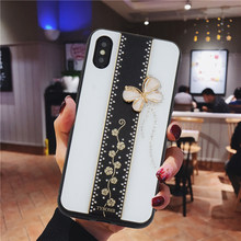 Funda rígida para iPhone Xs Max Xr X 8 Plus 7 Plus 6 6s Plus brillante diamante Kickstand linda chica mariposa 2(China)