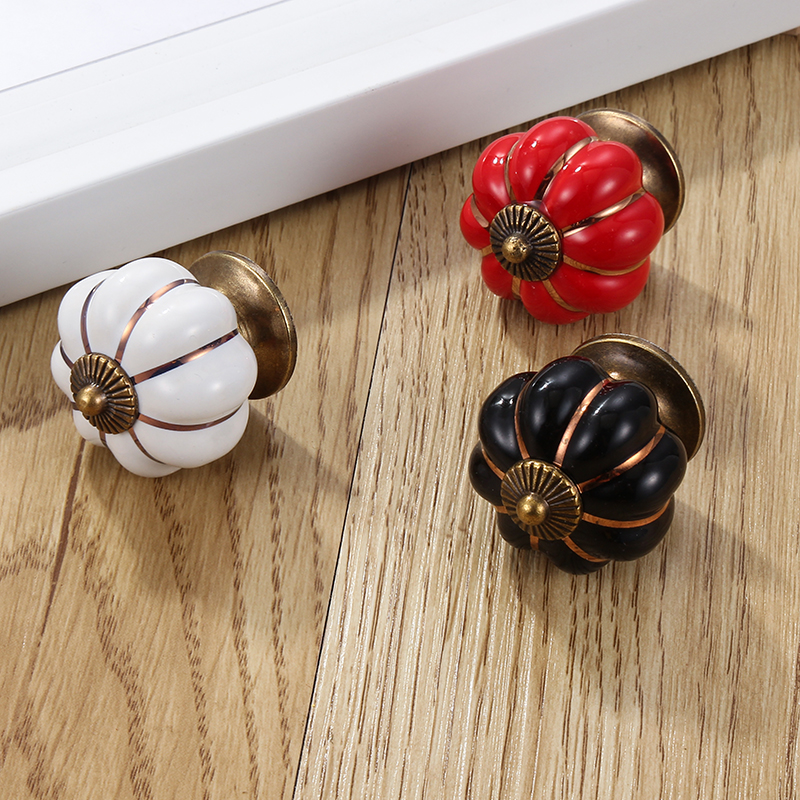 6 цветов Тыква керамические ручки ящика шкаф дверные ручки одно отверстие ручки шкафа с винтами мебельные ручки Ручки шкафа      АлиЭкспресс