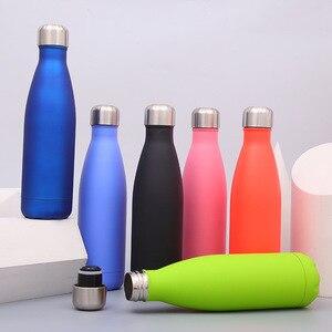 Image 2 - Logo bouteille Thermos personnalisée pour bouteilles deau Double paroi isolé flacon à vide tasse en acier inoxydable Sports de plein air Drinkware