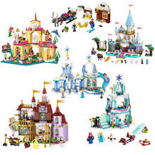 Elsa Anna Belle Ariel Moana Cinderella Castle Building Blocks Bricks Compatible Princess Legoinglys Friends Figures Girl Toys(China)