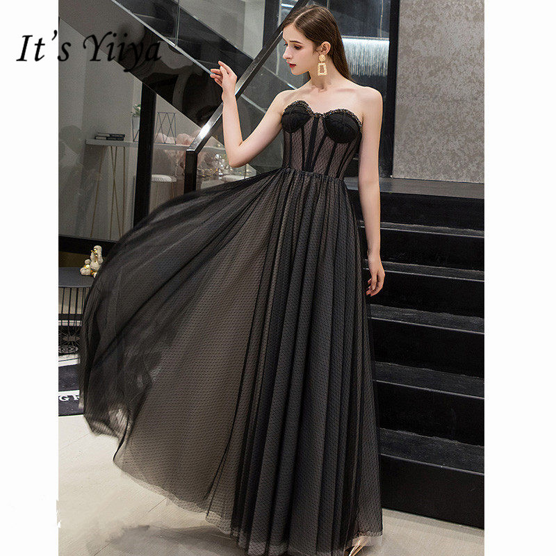 It's Yiiya Evening Dress 2019 Sexy Strapless Women Party Dresses Sleeveless Tulle A-Line Floor-Length Robe De Soiree E771
