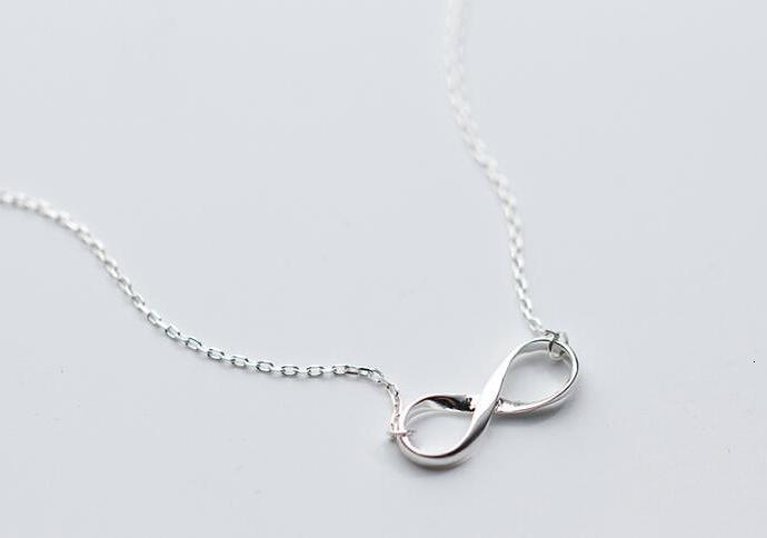 100% Classic Real. 925 Sterling Silver Fine Jewelry Polished Knot Infinity eternal Love Necklace Pendant Promised Love GTLX1510