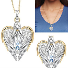 New High Quality Crystal Angel Pendant Necklace Women Heart Guard lovers' Best Frineds Gift Jewelry Collares high quality love heart pendant fashion women casual luxury necklace 2019 new jewelry