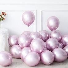 25pcs Purple Rose Gold Chrome  Balloons Adults Happy Birthday Party Decor Kids Globos Metallic Wedding Birthday Decorations